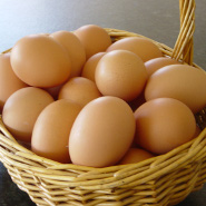 Sungold eggs in a basket